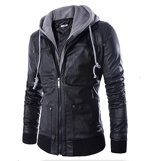 YOcheerful Men Coat Gilet PU Jacket Outwear Leather Autumn Blouse Tunic (Black,S)