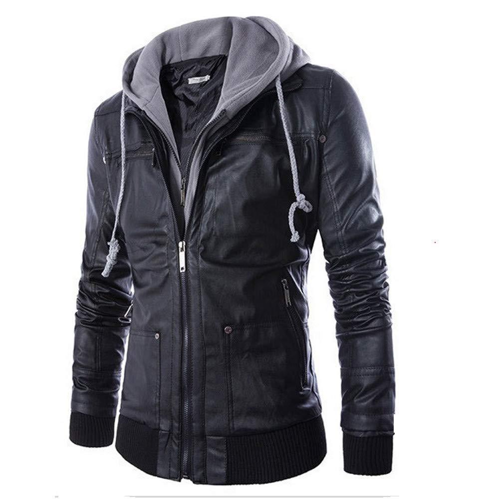 Mens Outwear Clearance WEUIE Men Leather Autumn&Winter Jacket Biker Motorcycle Zipper Outwear Warm Coat(L, Black)