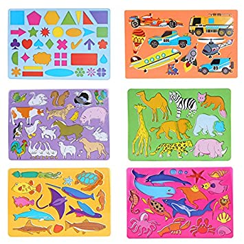 economy drawing stencils art set of 6 for kids educational toy for travel and - Kids Drawing Stencils