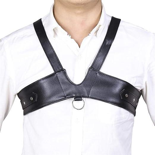 Mens Faux Leather Botones de presión Ajustables Cuerpo Pecho Medio ...
