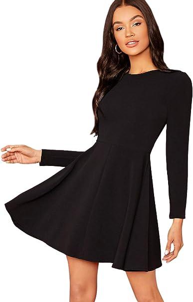 TALLA S. SOLY HUX Vestido con Cuello en Contraste 2 en 1 Vestido Elegante- Negro S