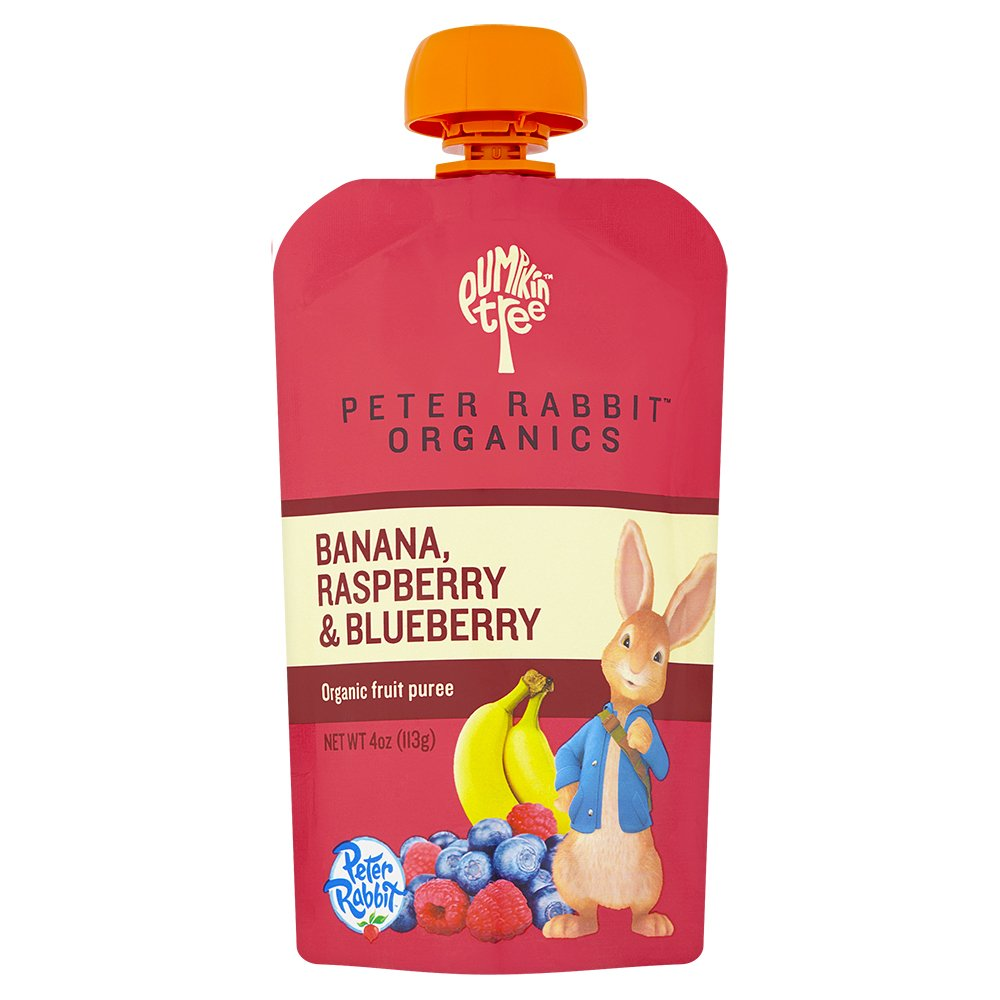 Peter Rabbit Organics Banana, Raspberry and Blueberry Puree, 4.0-Ounce Pouches (Pack of 10)
