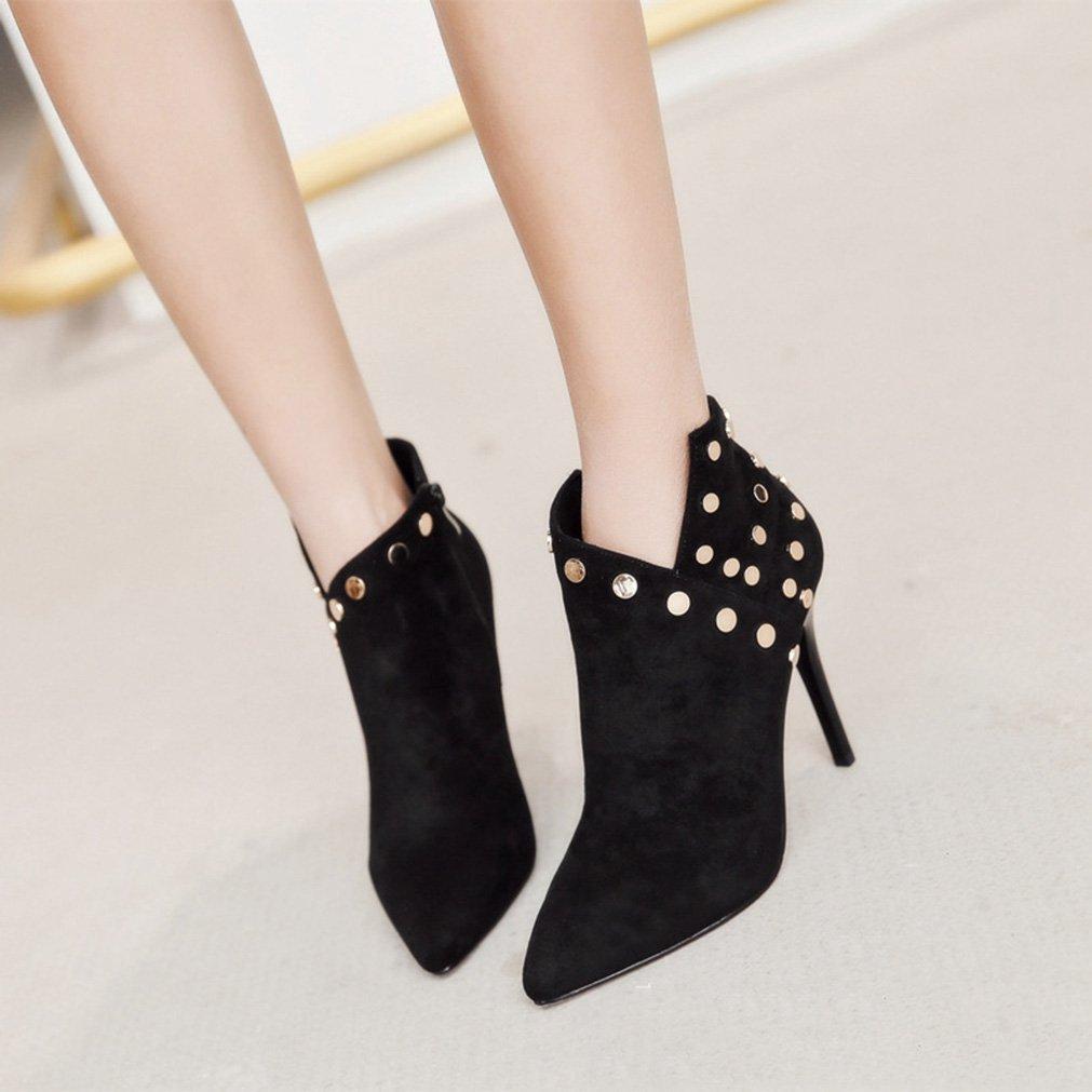 Boots Chelsea Femmes Hiver Rivet Haut Aiguille Talon Aiguille Haut Bout Pointu Demi Botte Cheville Chaussures Classique Noir 39B077ZP7SSHParent 10cd0e