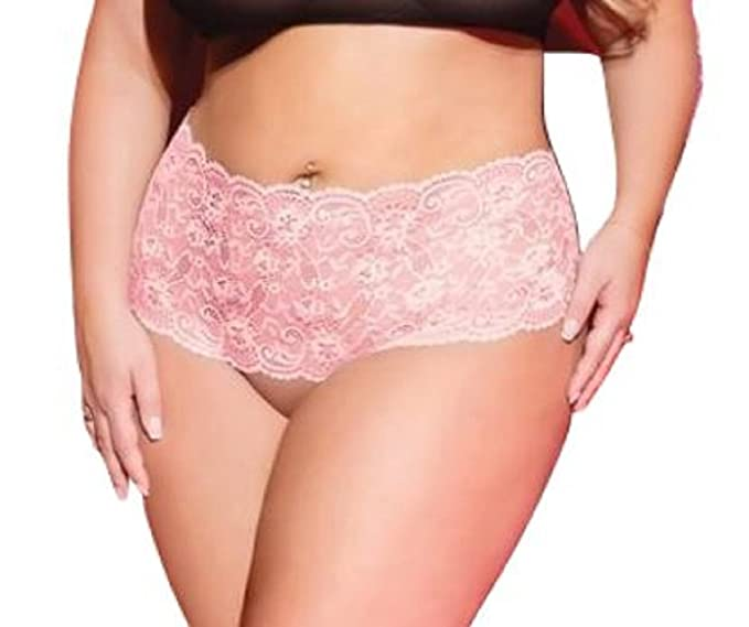 1e68b82126 Valentine Stretch Lace Crotchless Panty w Back Heart Cut Out Pink Black O