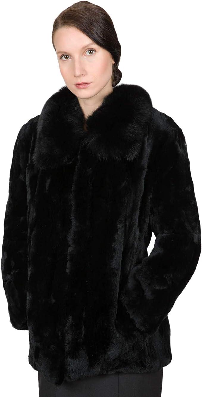 OBURLA Womens Real Rex Rabbit Fur Bomber Jacket Black