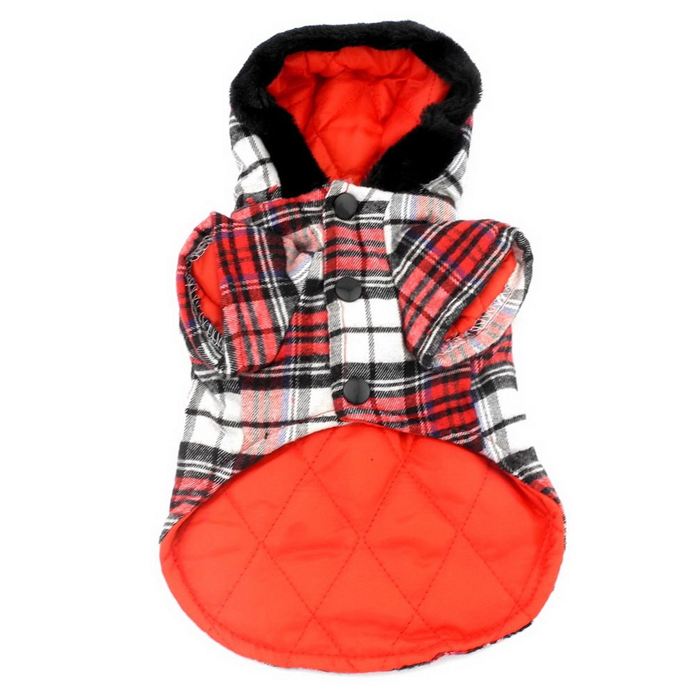 SELMAI Dog Duffle Coat Puppy Pet Hoodies Winter Clothes for Small Dogs Red L by SELMAI (Image #3)