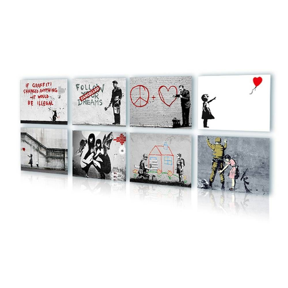 Alonline Art - There Is Always Hope Balloon Girl Banksy PRINT On CANVAS (Synthetic, UNFRAMED Unmounted) 32''x24'' - 81x61cm Set of 8 Lot Wall Decor Canvas For Living Room Oil Painting Print Artwork