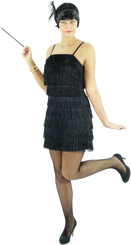 Foxxeo Vestido Negro de los años 20 para Mujeres Elegante Disfraz ...