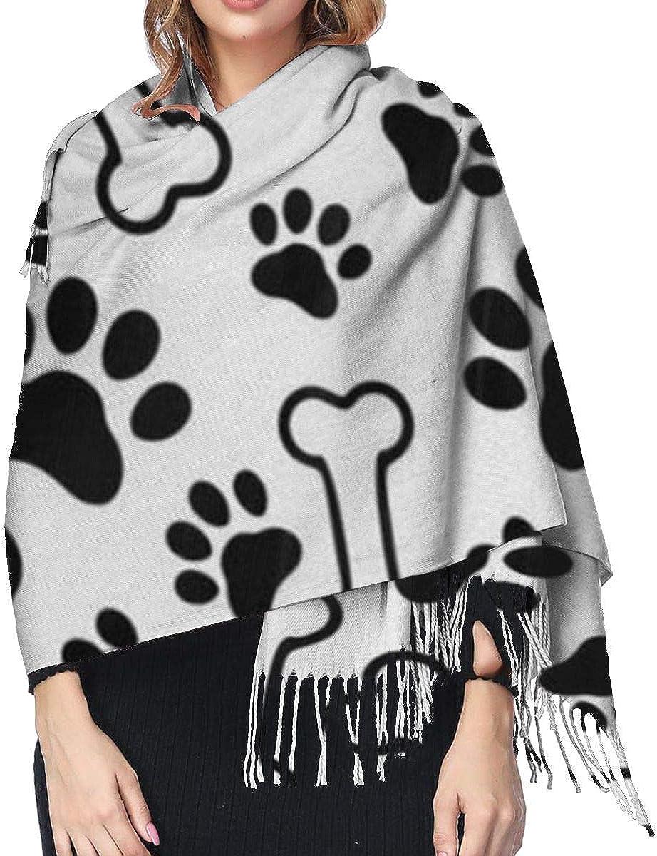 Dog Paw Print Soft Cashmere Scarf For Women Fashion Lady Shawls,Comfortable Warm Winter Scarfs