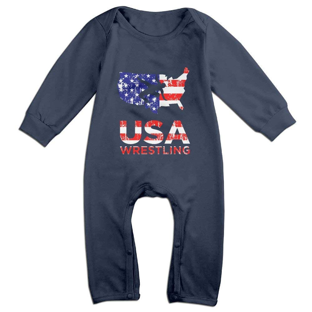 Infant Boys Girls Bodysuits Funny USA Wrestling Logo Toddler Short Sleeve Jumpsuit and Rompers Baby Onesies Clothes Navy 18 Months