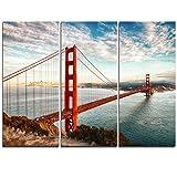 Design Art PT10035-3P - Golden Gate Bridge In San Francisco - Sea Bridge Canvas Wall Artwork - 36x28in - Multipanel 3Piece,Blue,36x28 3Piece