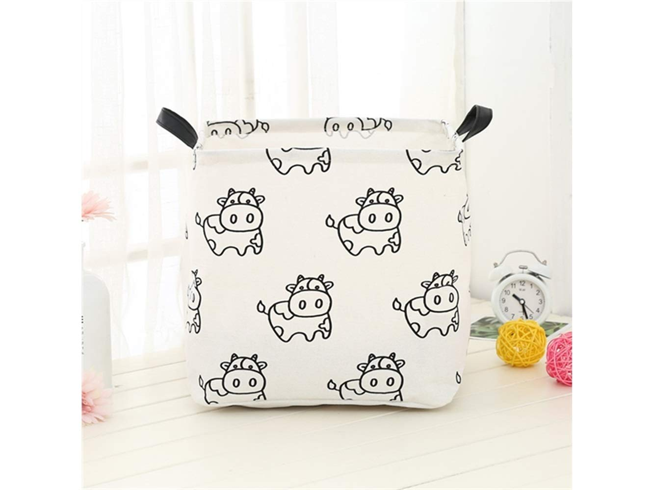 Yunqir Storage Box Calf Pattern Storage Box Laundry Basket Cotton and Linen Storage Box (White)