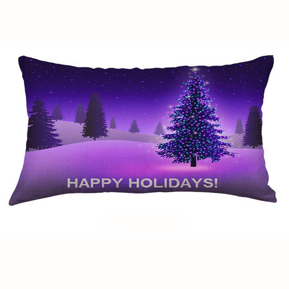 F_topbu Christmas Pillow Cases, Happy Festival Print Vogue Office Travel Plane Accessory Retro Home Decor Soft Cushion Cover