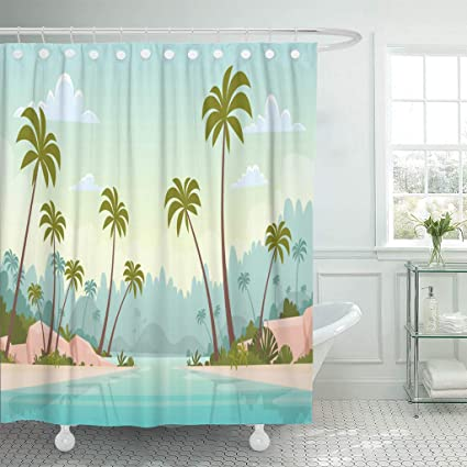 Emvency Shower Curtains 84 X 72 Inches Travel Summer Vacation Sea Shore Sand Beach Blue Sky