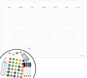 "X Large Dry Erase Wall Calendar - 24""x36"" Premium Giant Oversized Undated Erasable Deadline Task Calendar for 2019 2020 - Jumbo Monthly Home School Organizer Planner for Home, Business & Dorm (Dotted)"