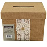 Celebrate It Natural Burlap & Lace Card Box for Weddings Events & Occasions 11 x 8.5 x 8.5