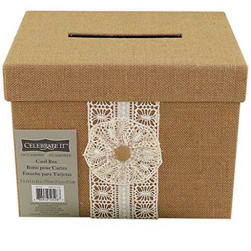 Celebrate It Natural Burlap & Lace Card Box for Weddings Events & Occasions 11 x 8.5 x 8.5 by Celebrate It