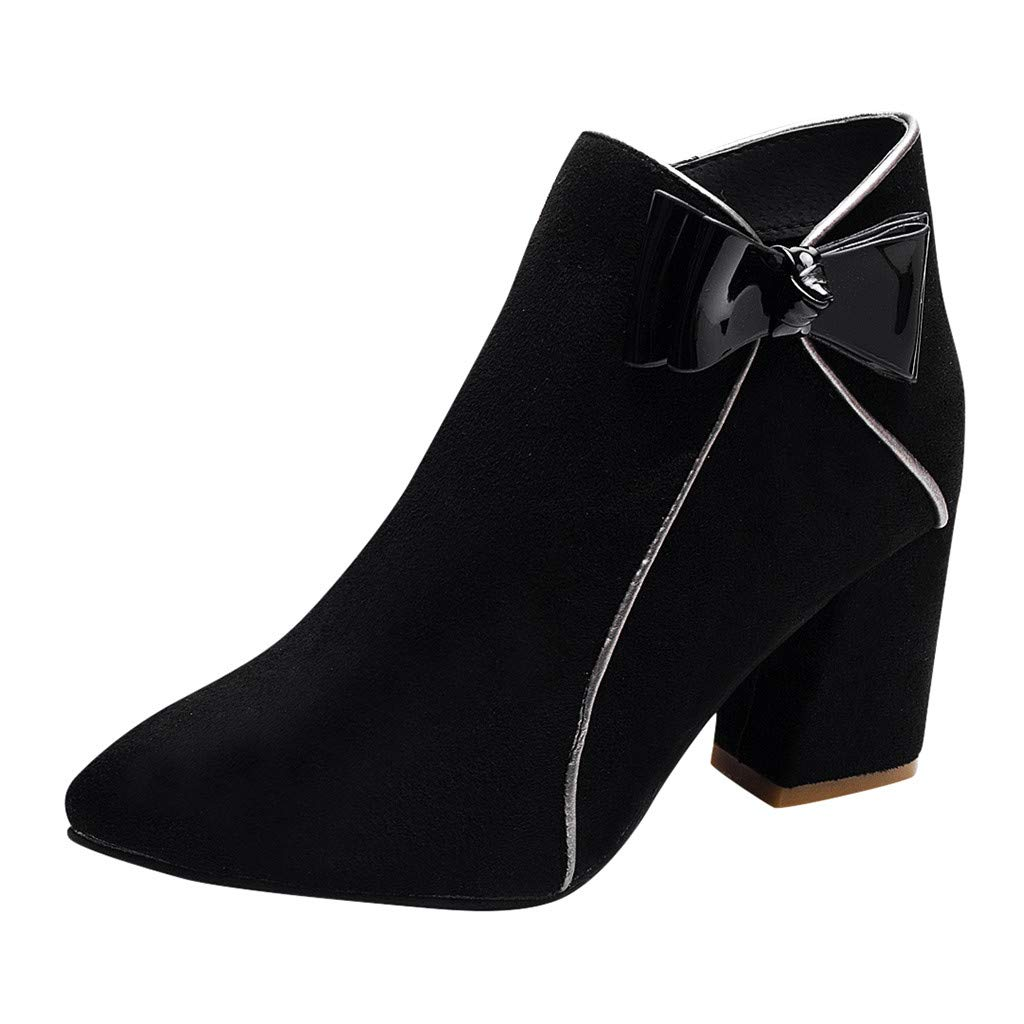 〓COOlCCI〓Women's Chunky Heeled Bow Zip Closure Slim Fit Ankle Booties Chelsea Boot Casual Block Mid High Ankle Boots Black by COOlCCI_Shoes