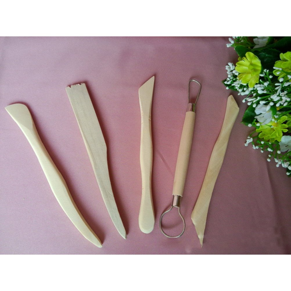 ROSENICE Wooden Pottery Clay Sculpture Carving Tool Set Polymer Molding Shaping Tools 5pc