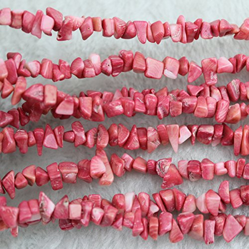 Pink Coral Gemstone Beads (5-8mm Pink Coral Chips Chip Beads Loose Gemstone Beads for Jewelry Making Strand 35 Inch)