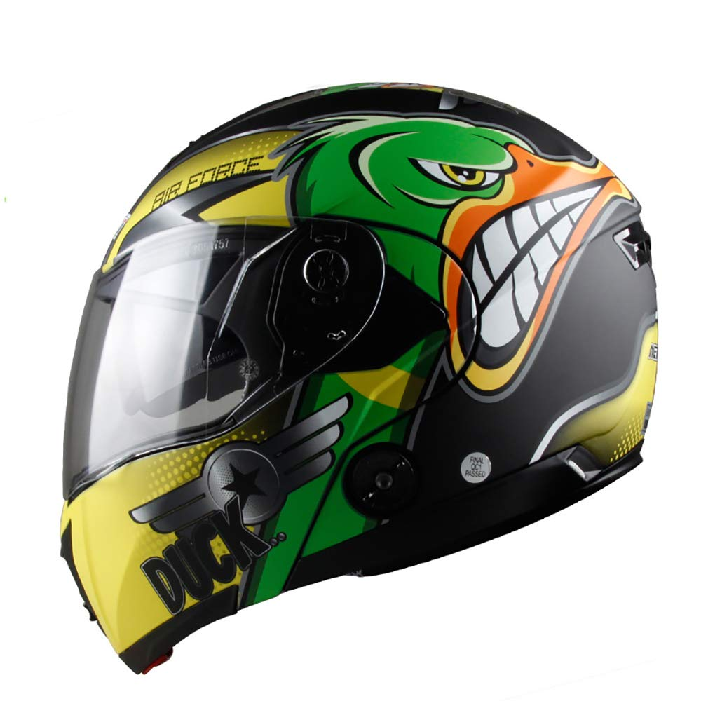 Orangejaune XX-grand PQ&D Casque Cool de Course Tout-Terrain, au cœur des Droits de l'homme Casque de compétition pour Motocycliste Route, Noir - Vert,Orangejaune,XL