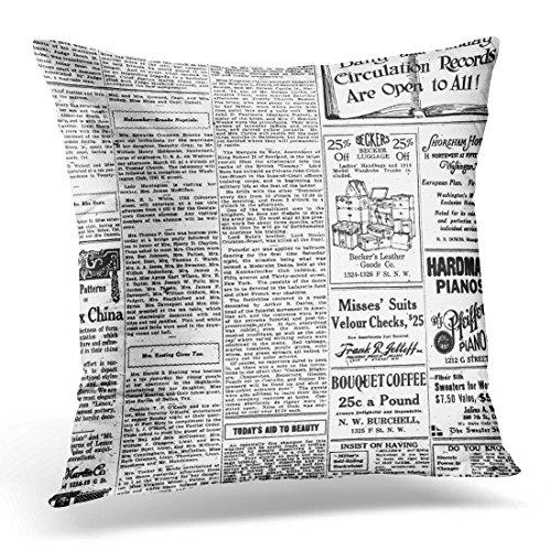 Cover Classic Old Black White Newspaper Vintage Retro Journalist Decorative Pillow Case Home Decor Square 18x18 Inches Pillowcase ()