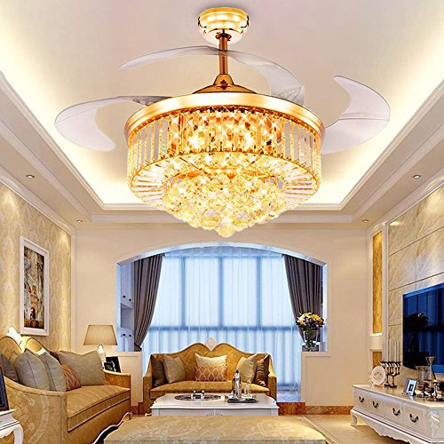 Rs lighting crystal ceiling fan living room fan lights with rs lighting crystal ceiling fan living room fan lights with adjustable transparent acrylic blades led fan aloadofball Image collections
