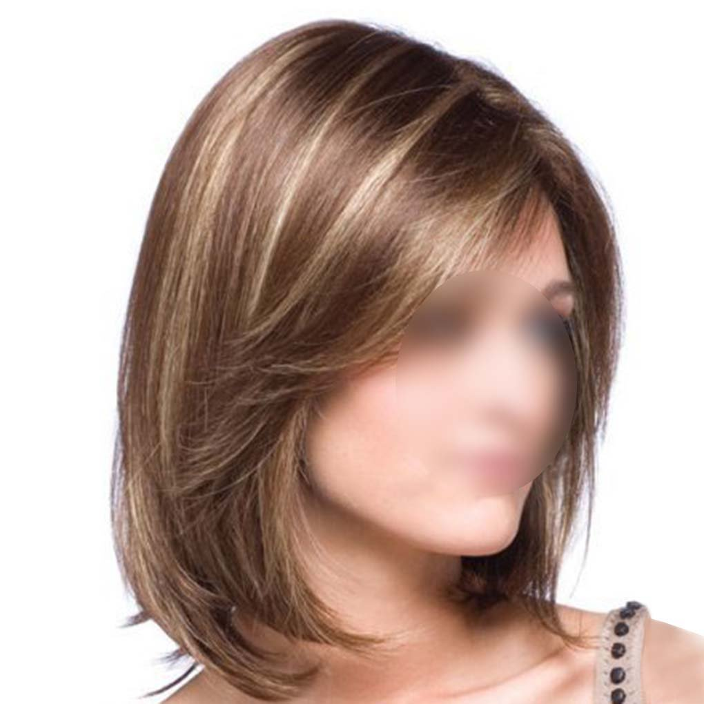 M-Egal Women Cosplay Wig Girls Straight Middle Long Hair With Bangs Mixed Golden+Brown