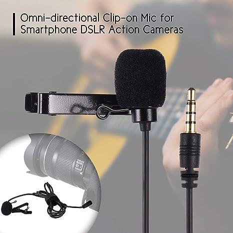 Leslaur Micrófono de Solapa Omni-direccional Micrófono de Clip con 1,2 m de Longitud de Cable para Smartphone GoPro HERO3 / 3 Plus / 4 Action Camera para Canon Sony DSLR Camera: Amazon.es: Electrónica