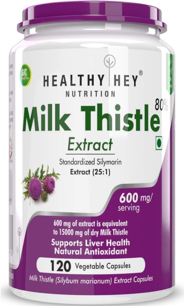 HealthyHey Nutrition Milk Thistle 25:1 (Silymarin Marianum) - 600mg Extract - Support Liver Health - 120 Veg. Capsules