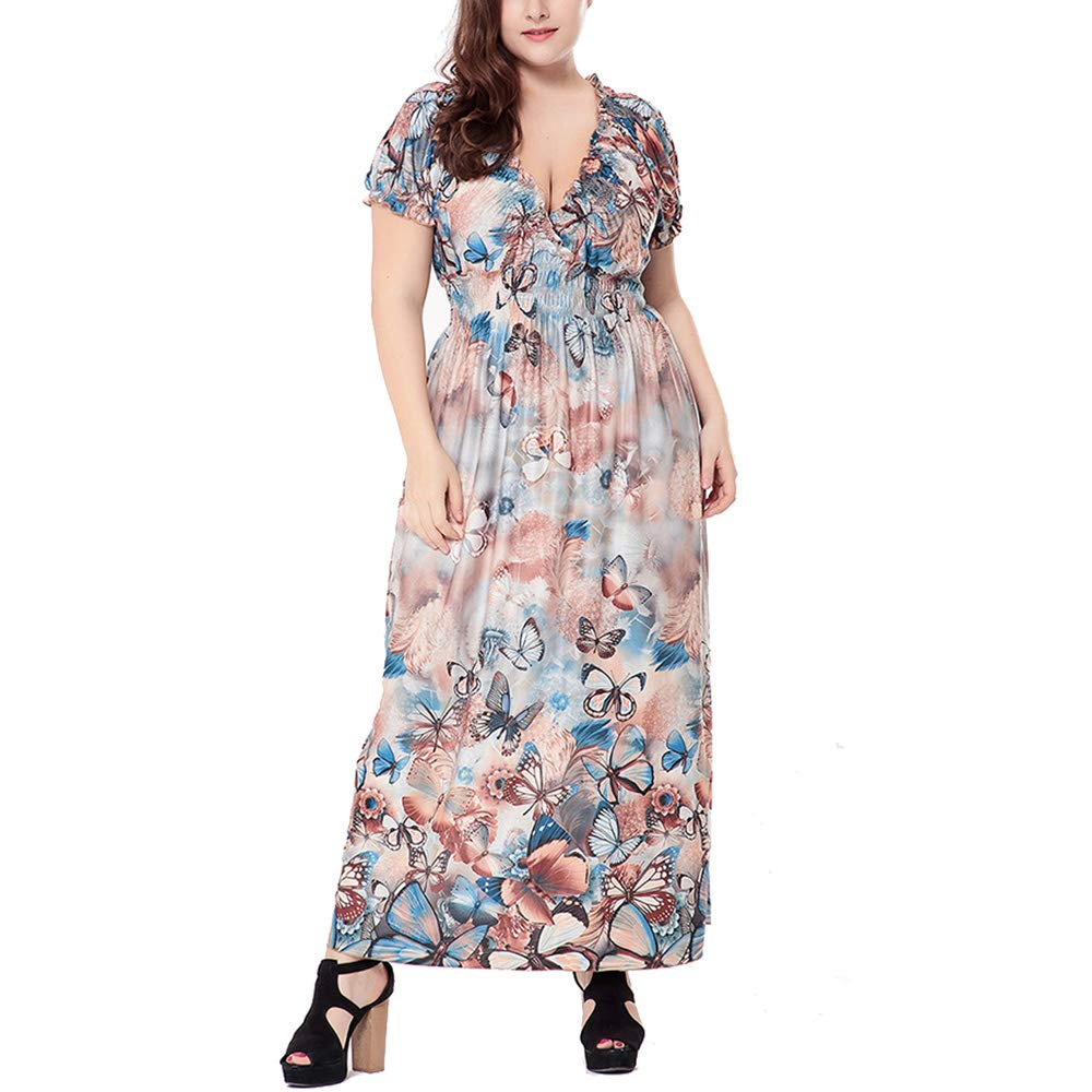 Brown HDFGYF Plus Size Dresses Summer, Women's Retro Casual VNeck Floral Print Work Party Swing Dress