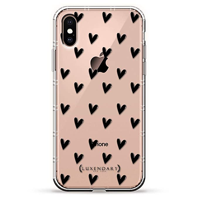 Black Cute Hearts Pattern Luxendary Air Series Clear Silicone Case With 3d Printed Design And Air Pocket Cushion Bumper For Iphone Xs Max New