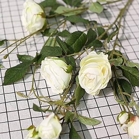Zhudj Rosas Flores De Seda Artificial Vides Flores Salón