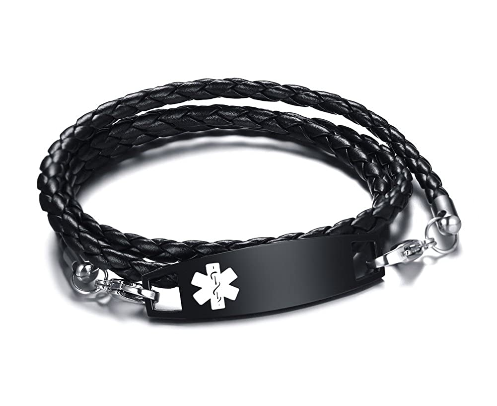 Personalized Engraving Black Braided Leather Multi-strand Triple Wrap Stainless Steel Medical Alert ID Bracelets Mealguet MG--BL--233BB--KZ