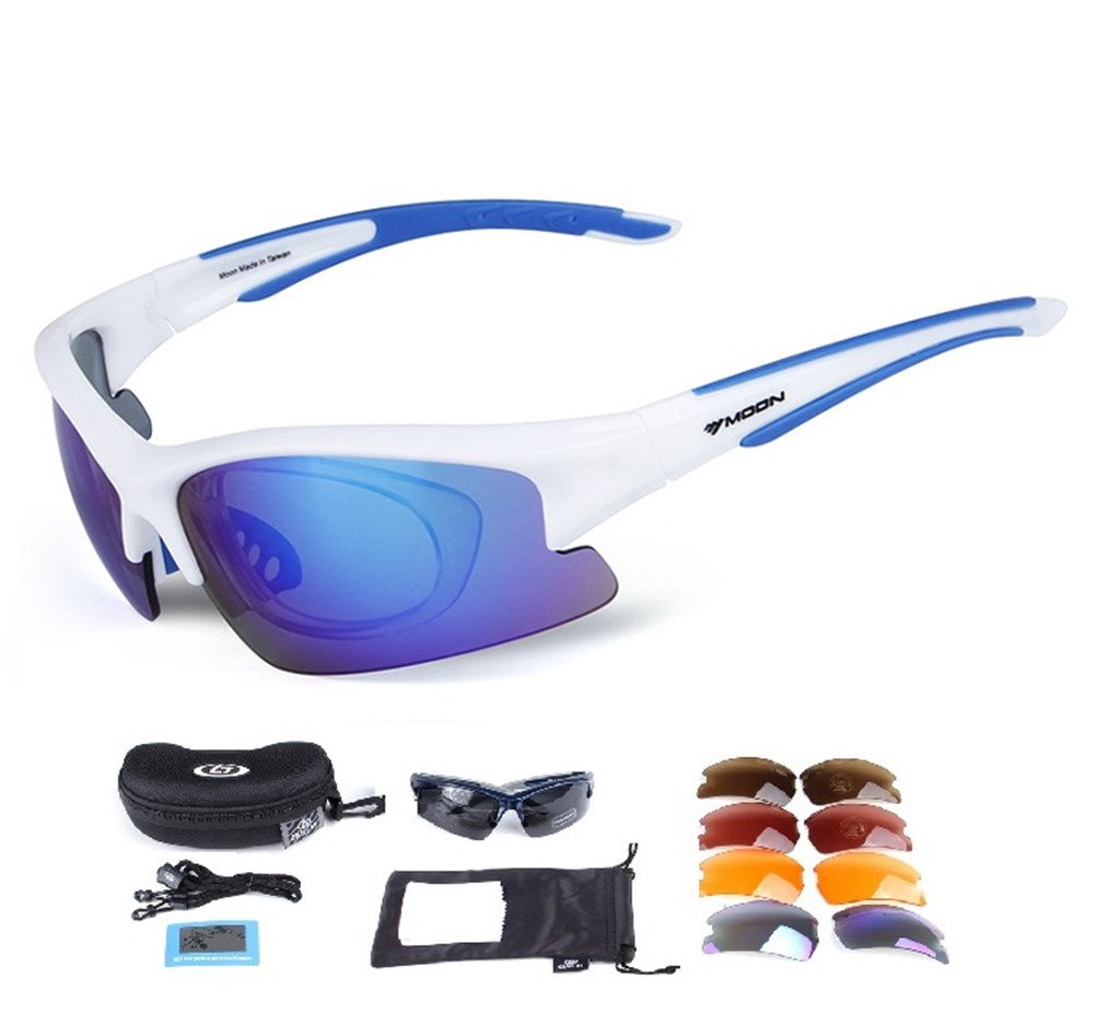 Lorsoul Polarized Sports Sunglasses with 5 Interchangeable Lenses, Tr90 Unbreakable glasses for Men Women Cycling Driving Running MTB Racing Ski Goggles (White)
