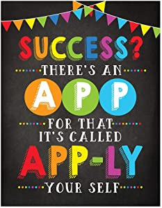 Andaz Press Classroom Computer Teacher Wall Art Decor Poster Signs, 8.5x11-inch, Success? There's an App for That, 1-Pack, Unframed, Inspirational Motivational Quotes Decorations