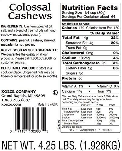 Crowd Pleaser - Colossal Cashews - 4.25 Lb. Jar