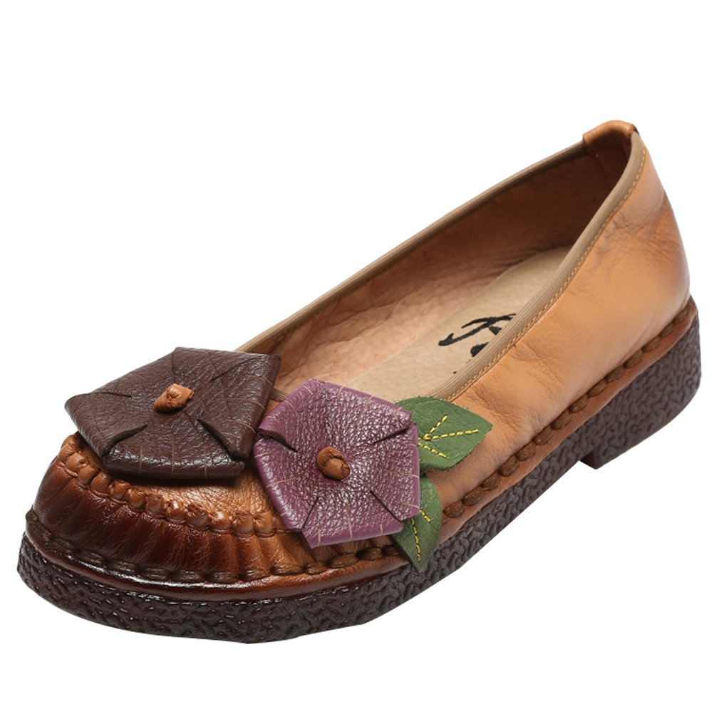 Mordenmiss Women's New Summer Handmade Flat Loafers Flower Pattern Leather Shoes Moccasins B06XX996FQ US 6.5-7// CH 38 Style 2 Khaki