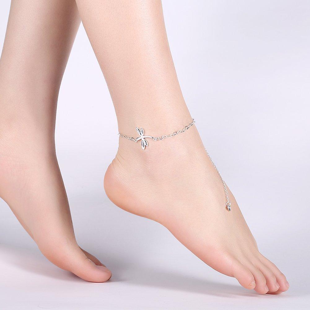 Bracelet de cheville plaqu/é argent avec pendentif libellule