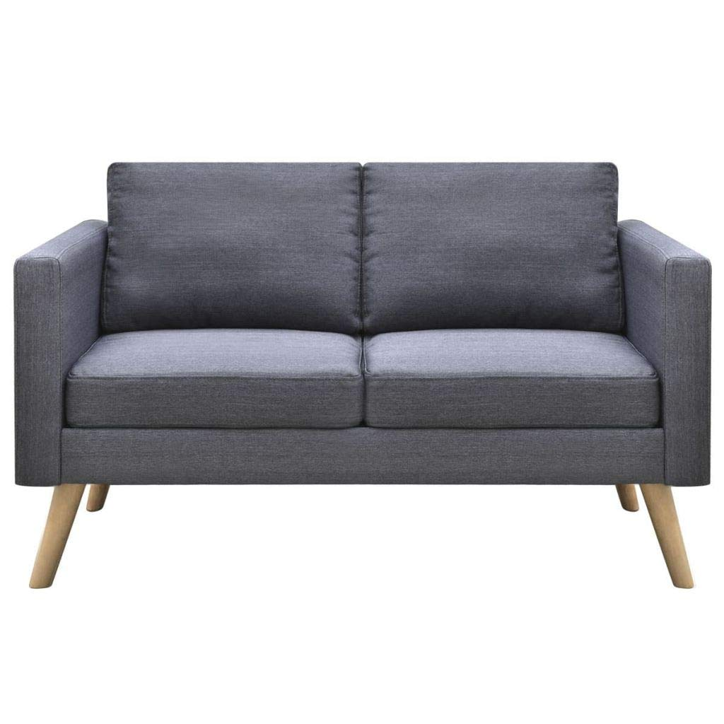 2-Seater Sofa Fabric Dark Gray Wooden Frame Home Office Furniture 46'' x 28'' x 29'' (L x W x H) by Drewcaroline (Image #2)