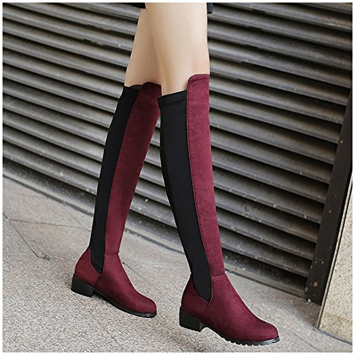 COOLCEPT Damen Mode Niedrige Stretch Stiefel Knee High Pull On Wine Red