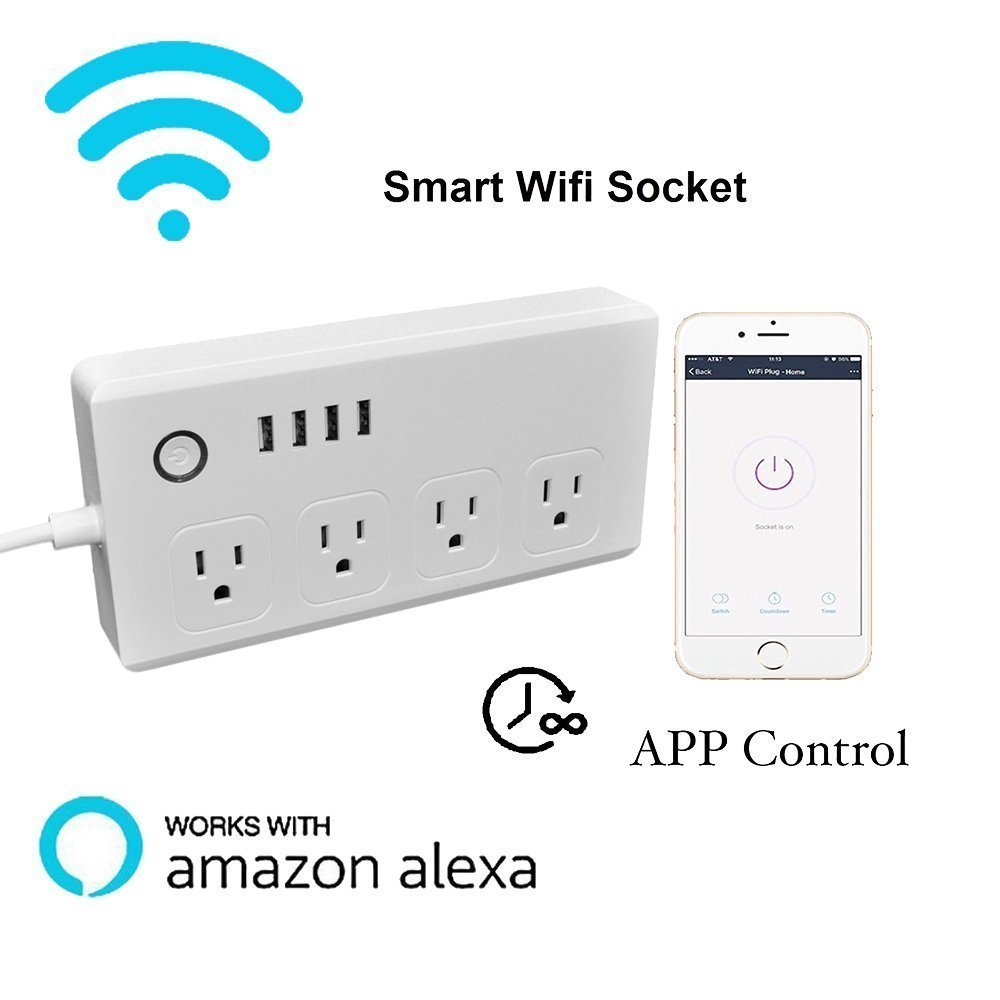 Power Strip Socket DIWUER WiFi Smart Multi Outlets with 4 Plug 4 USB Ports Work with Amazon Alexa Surge Protector Timer Remote Control by iPhone and Android Phone