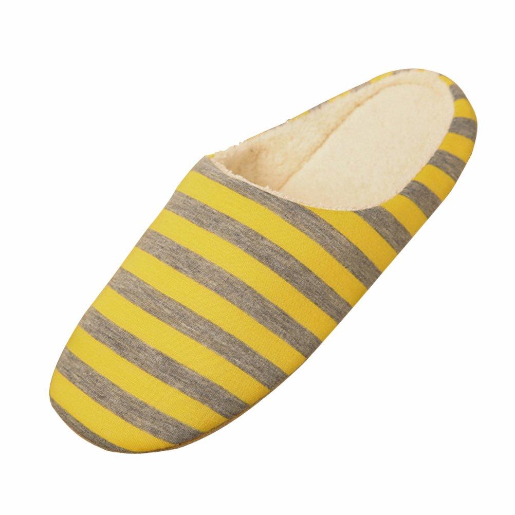 BESTOYARD Pantofole inverno Ciabatte Calde Peluche Morbido interno antiscivolo Pantofole per Donna e Uomo (A Righe)  Giallo