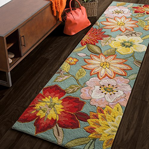 2'3 x 8' Hand Hooked Tropical Floral Paradise Patterned Area Rug, Featuring Bold Vibrant Flowers Themed, Runner Indoor Bedroom Living Area Bedroom Entryway Carpet, Nature Lovers Design, Aqua, (Flowers Hand Hooked Rug)