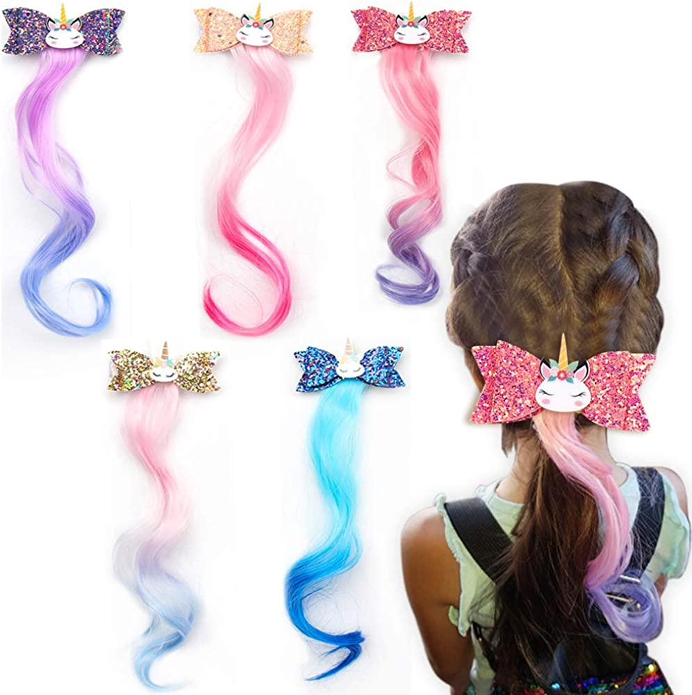 Unicorn glitter hair bow clip heart tulle pink and purple glitter faux leather gold headband pin infant toddler paper flower rose dolly bow