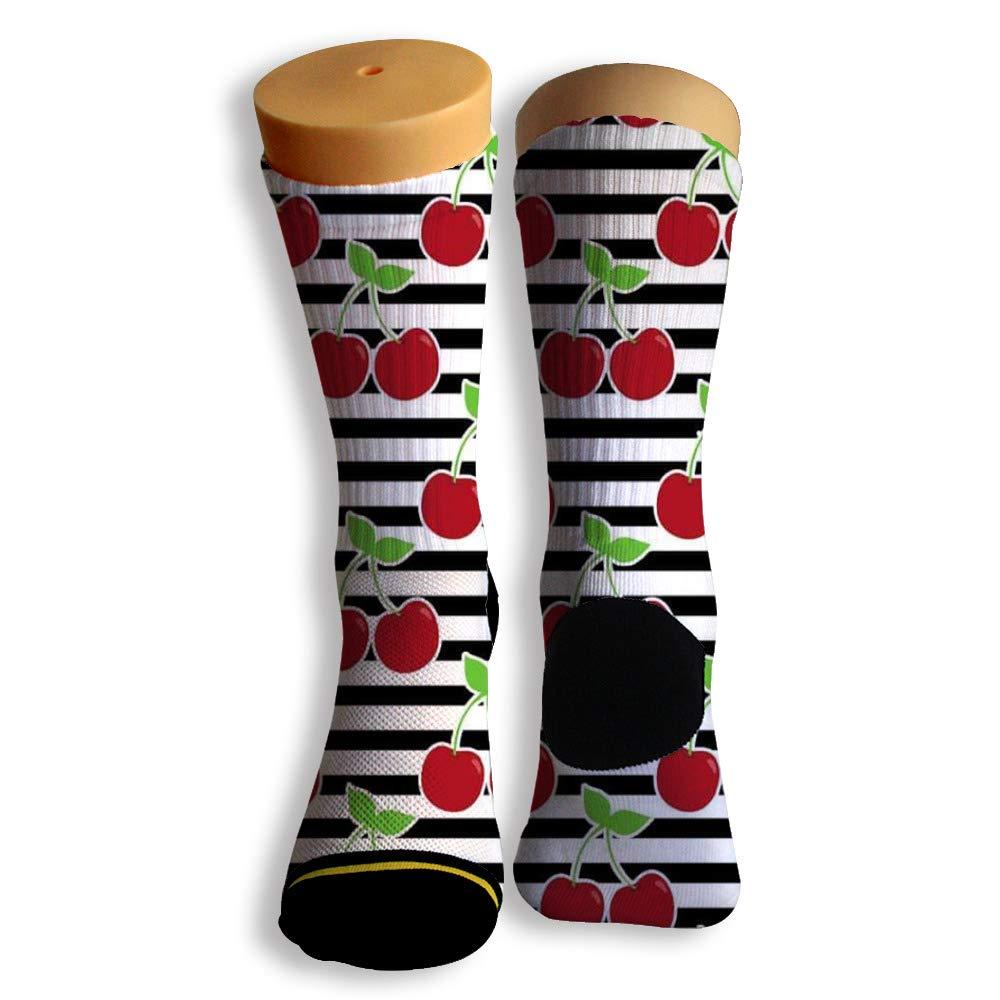 Basketball Soccer Baseball Socks by Potooy Fruits Cherry Wallpaper 3D Print Cushion Athletic Crew Socks for Men Women