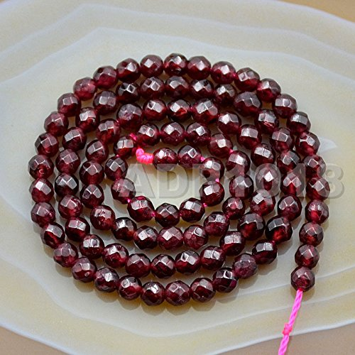 AD Beads Natural Gemstones Faceted Round Spacer Loose Beads 15.5'' 4mm to 10mm (4mm, Faceted Dark Red Garnet) ()