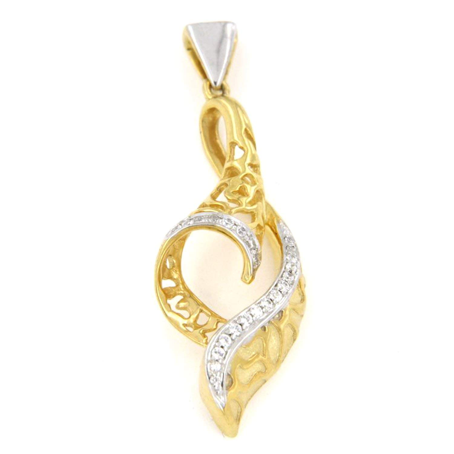 AT Jewels 14K Two Tone Gold Over 925 Sterling Silver Round Cut Cubic Zirconia Fligree Shank Unisex Pendant