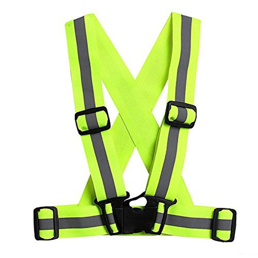 Radfahren Reiten YouGer Elastic Straps Visible Gear Sicherheitsweste f/ür Laufen Einstellbare Warnweste Laufen Motorrad Fluorescent Gr/ün