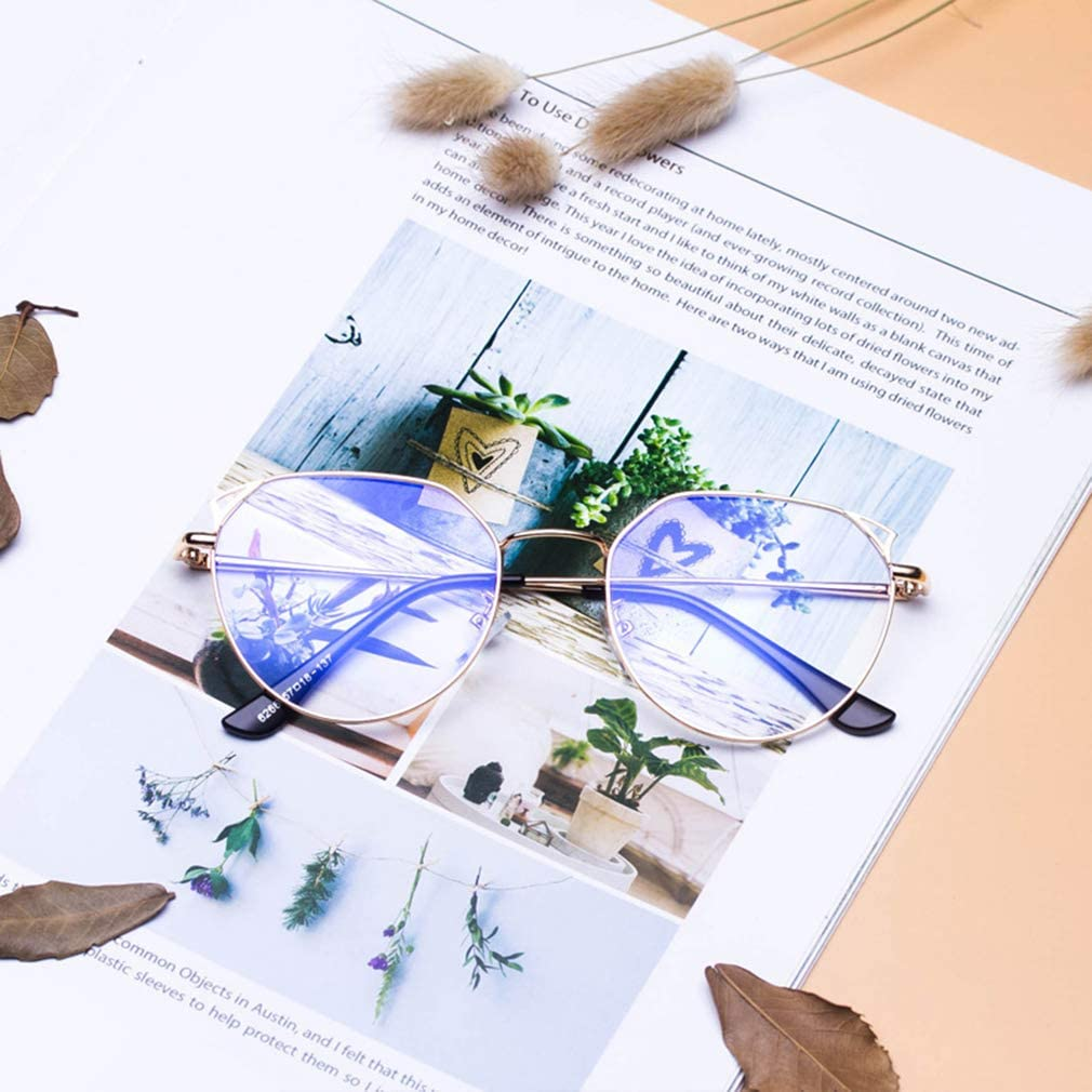 Metall Rahmen Anti Blau Licht Clear Lens Gl/äser Rahmen f/ür Computer//PC Spiel//TV//Handy Lesen Brillen ka18082004 Junkai M/änner Frauen Runde Brillen